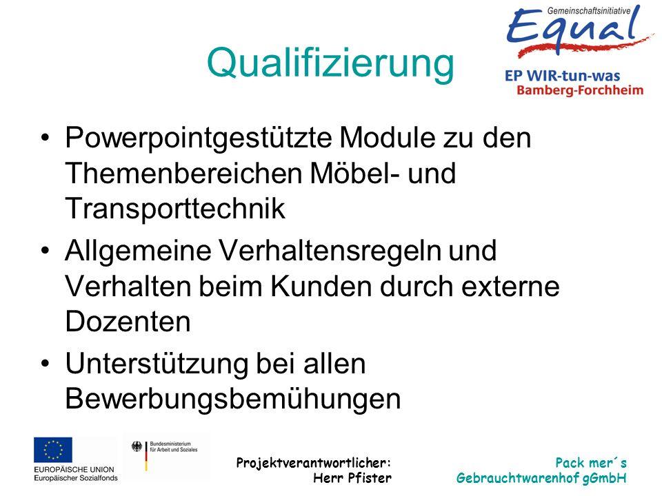 Qualifizierung Powerpointgestützte Module zu den Themenbereichen Möbel- und Transporttechnik.