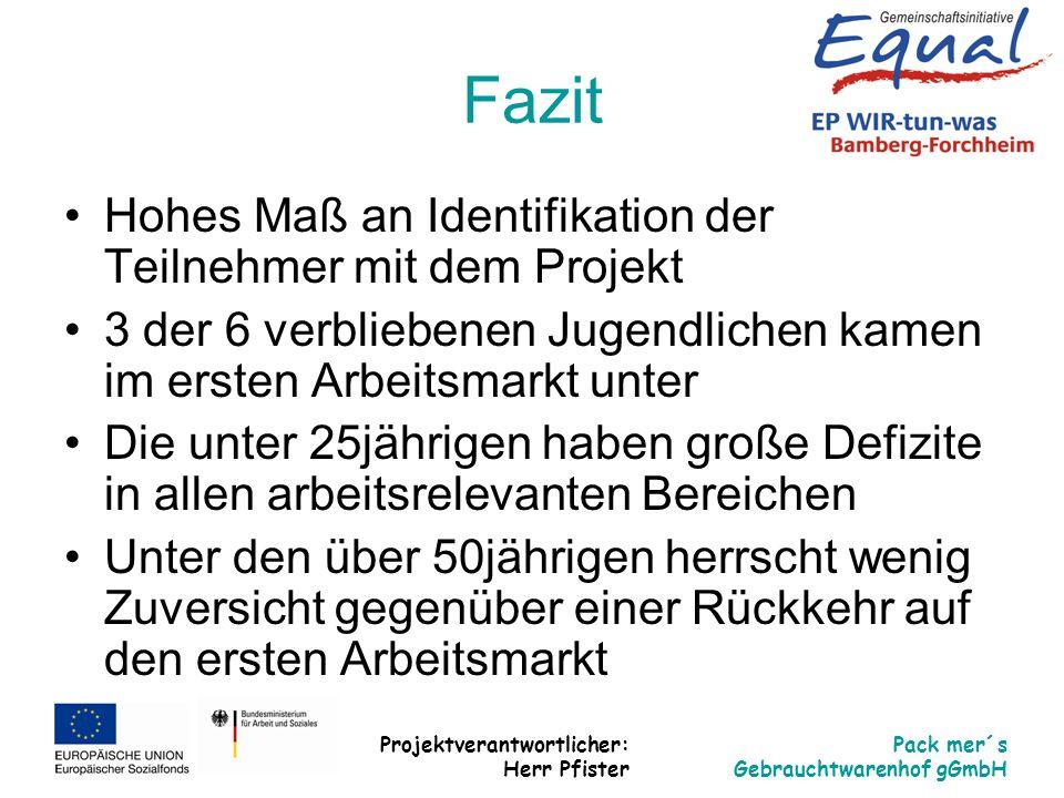 Fazit Hohes Maß an Identifikation der Teilnehmer mit dem Projekt