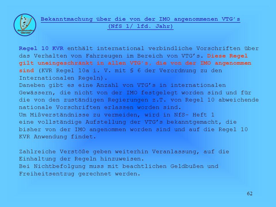 Bekanntmachung über die von der IMO angenommenen VTG's (NfS 1/ lfd
