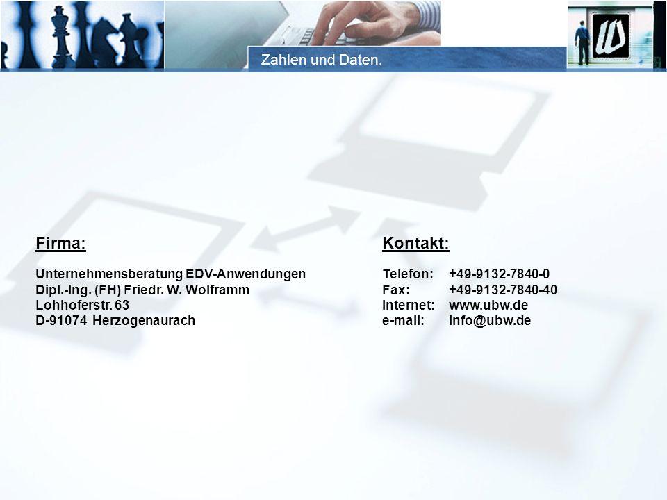 Firma: Kontakt: Zahlen und Daten. Unternehmensberatung EDV-Anwendungen