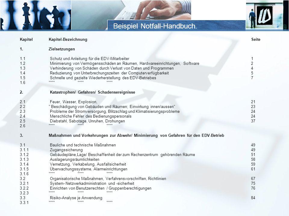 Beispiel Notfall-Handbuch.