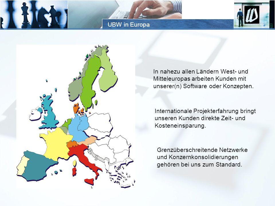 UBW in Europa In nahezu allen Ländern West- und. Mitteleuropas arbeiten Kunden mit. unserer(n) Software oder Konzepten.