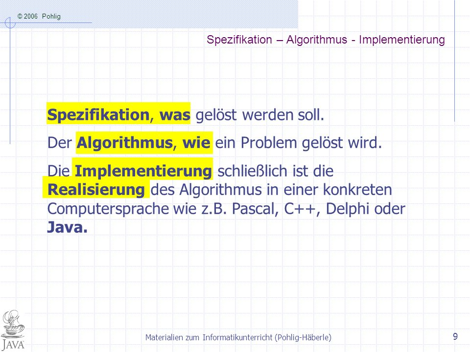 Spezifikation – Algorithmus - Implementierung