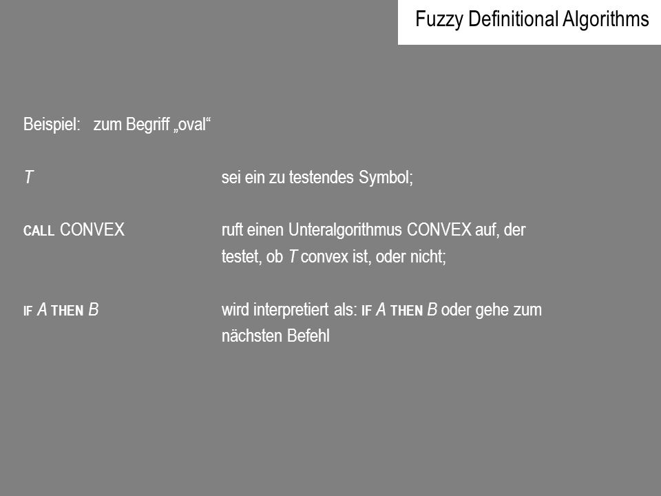 Fuzzy Definitional Algorithms