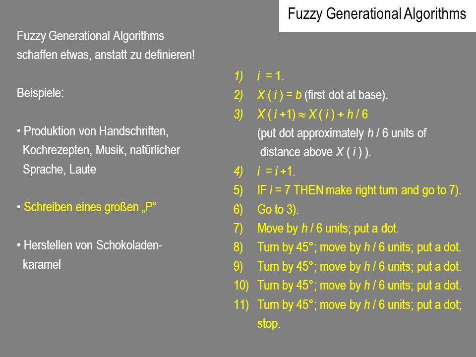 Fuzzy Generational Algorithms
