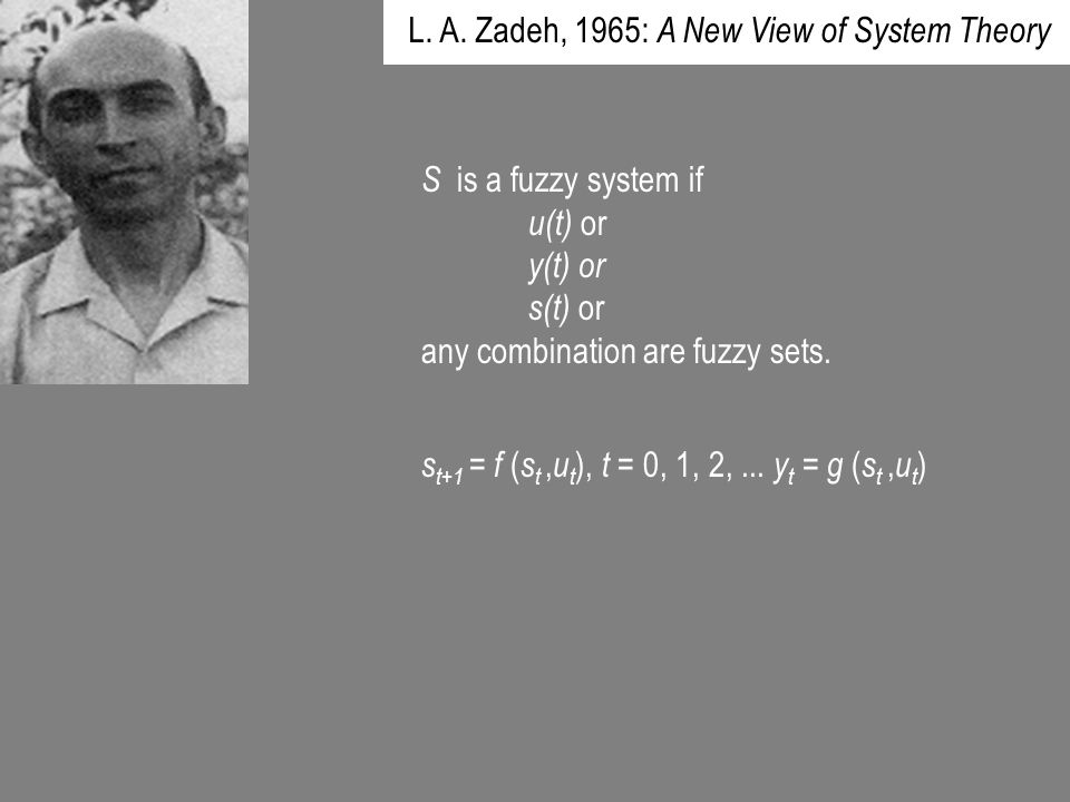 L. A. Zadeh, 1965: A New View of System Theory