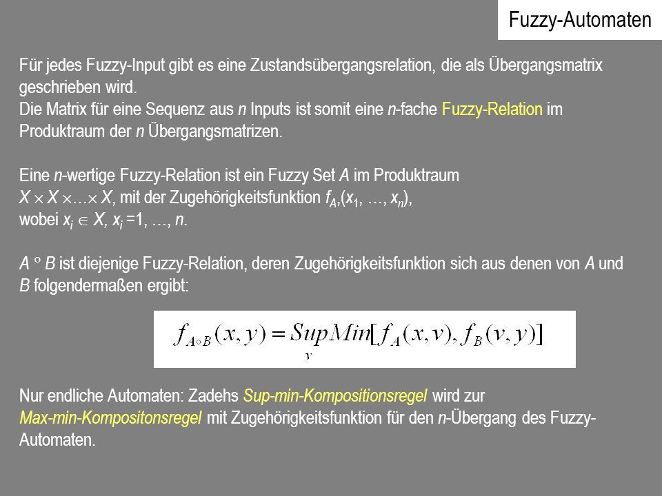 Fuzzy-Automaten Für jedes Fuzzy-Input gibt es eine Zustandsübergangsrelation, die als Übergangsmatrix geschrieben wird.