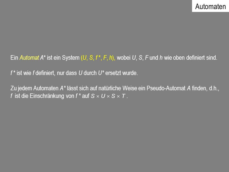 Automaten Ein Automat A* ist ein System (U, S, f *, F, h), wobei U, S, F und h wie oben definiert sind.