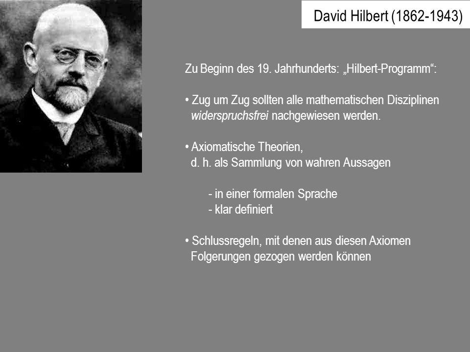 """David Hilbert (1862-1943) Zu Beginn des 19. Jahrhunderts: """"Hilbert-Programm : Zug um Zug sollten alle mathematischen Disziplinen."""