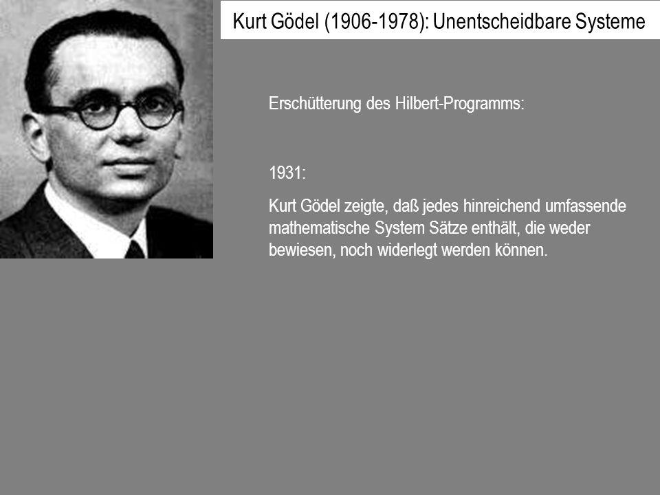 Kurt Gödel (1906-1978): Unentscheidbare Systeme