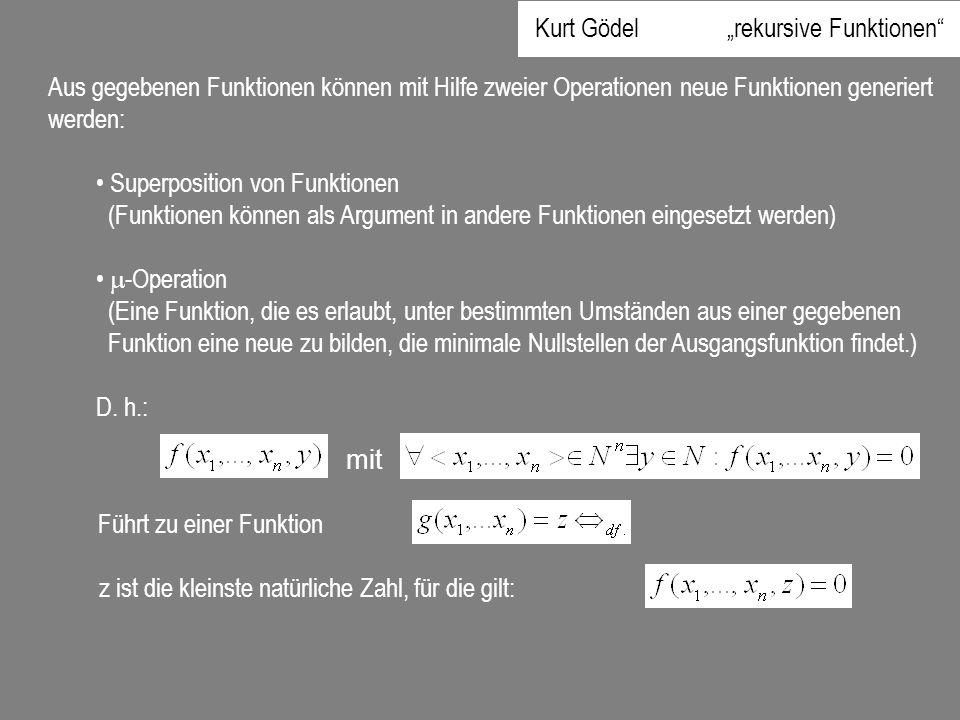 "Kurt Gödel ""rekursive Funktionen"