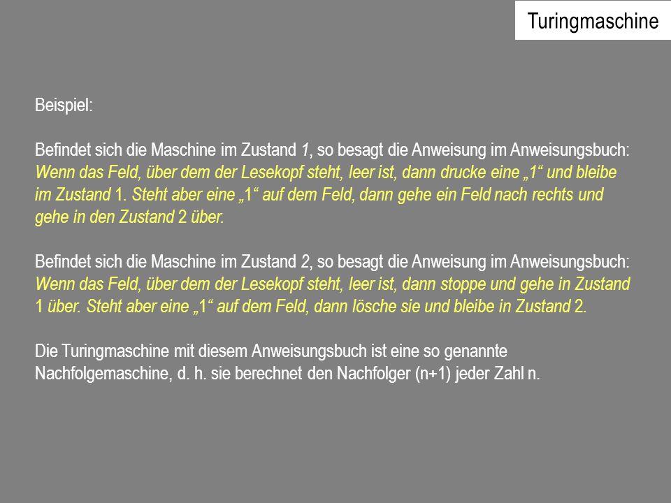 Turingmaschine Beispiel: