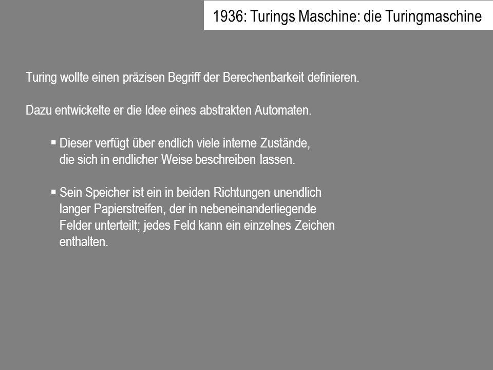 1936: Turings Maschine: die Turingmaschine