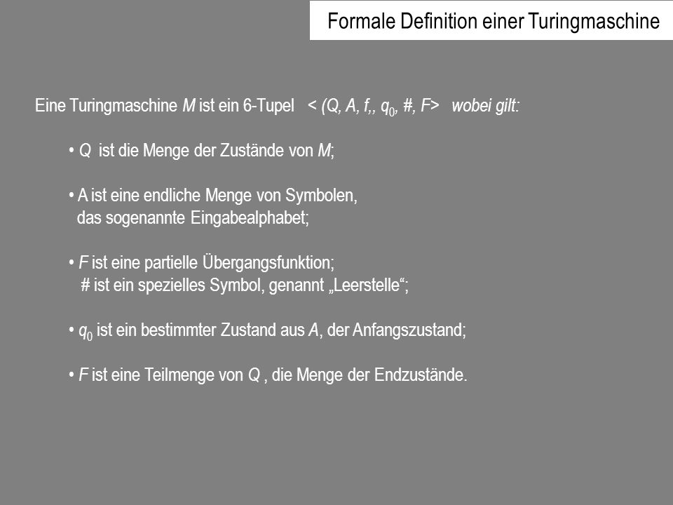 Formale Definition einer Turingmaschine