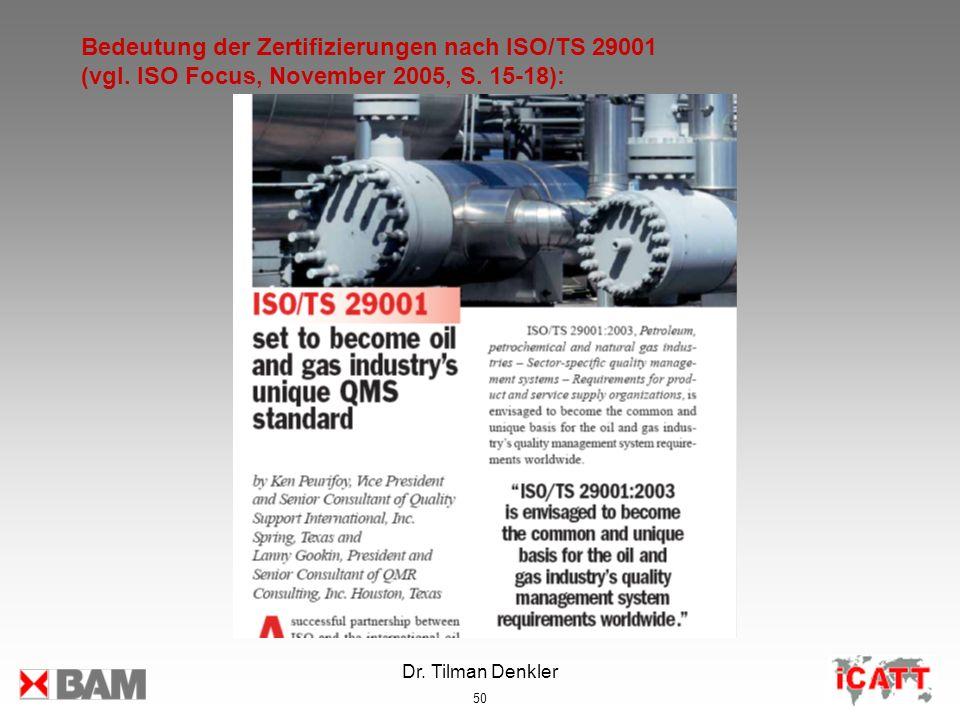Bedeutung der Zertifizierungen nach ISO/TS 29001