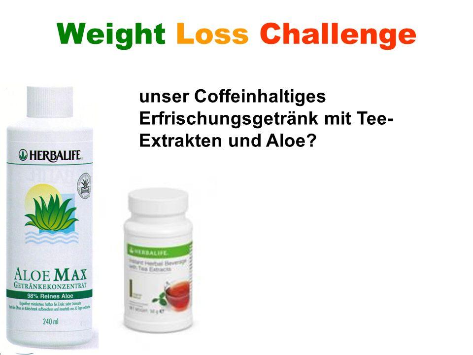 Weight Loss Challenge unser Coffeinhaltiges Erfrischungsgetränk mit Tee-Extrakten und Aloe