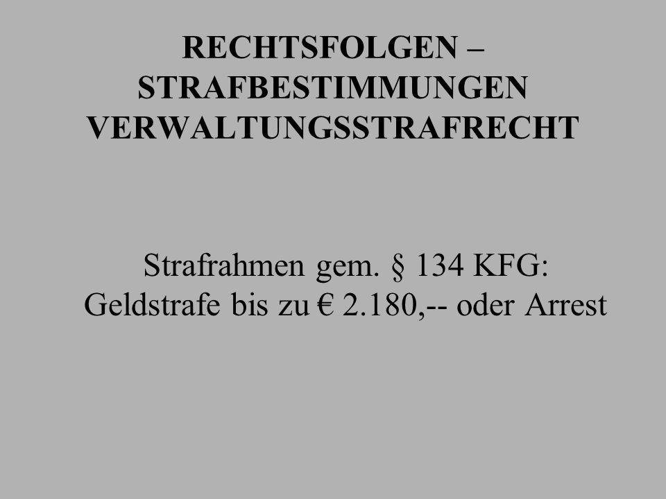 RECHTSFOLGEN – STRAFBESTIMMUNGEN VERWALTUNGSSTRAFRECHT