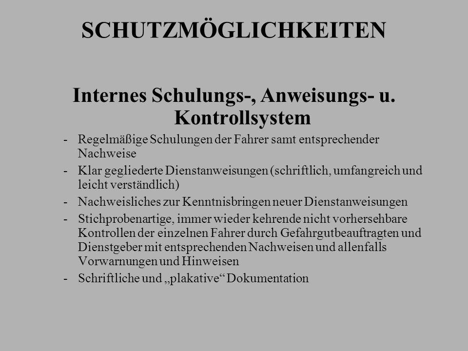 Internes Schulungs-, Anweisungs- u. Kontrollsystem