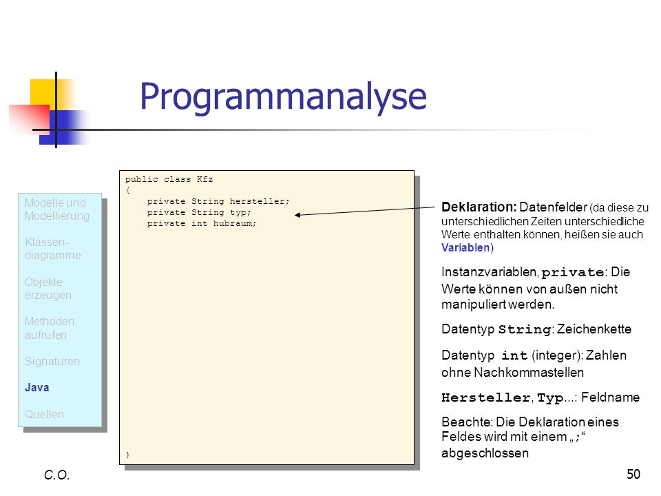 Programmanalyse Hersteller, Typ...: Feldname