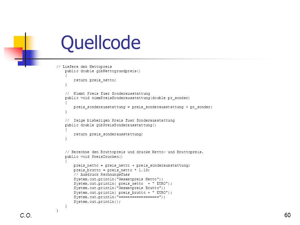 Quellcode C.O. // Liefere den Nettopreis