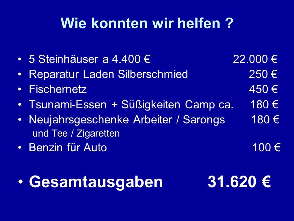 Gesamtausgaben 31.620 € Wie konnten wir helfen