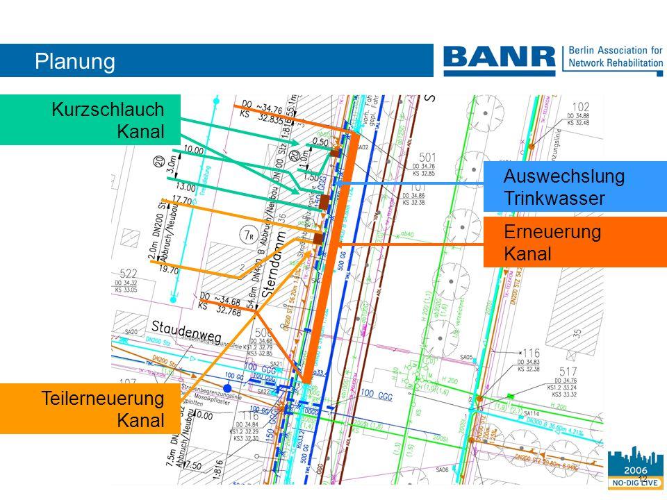 Planung Kurzschlauch Kanal Auswechslung Trinkwasser Erneuerung Kanal