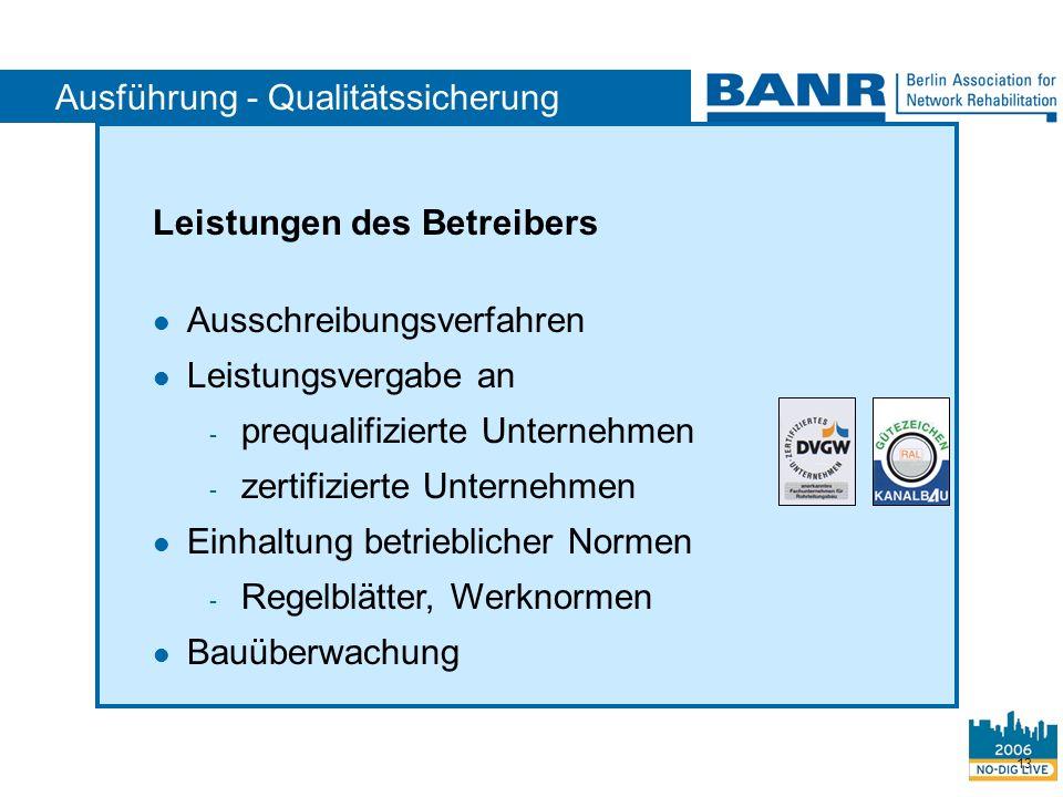 Ausführung - Qualitätssicherung