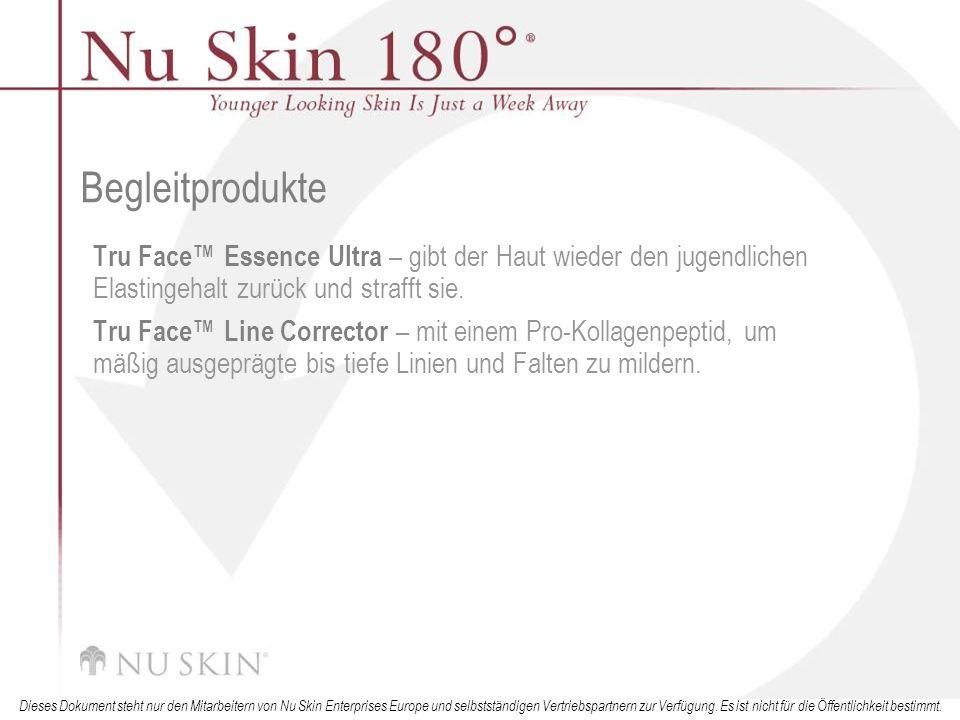 Begleitprodukte Tru Face™ Essence Ultra – gibt der Haut wieder den jugendlichen Elastingehalt zurück und strafft sie.