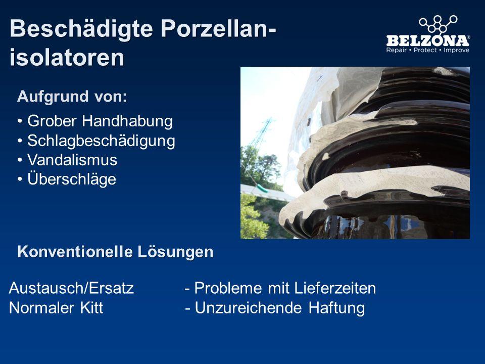 Beschädigte Porzellan- isolatoren