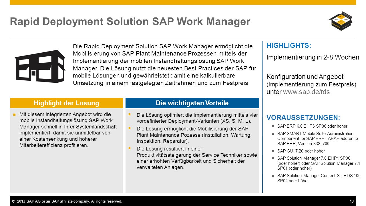 Rapid Deployment Solution SAP Work Manager