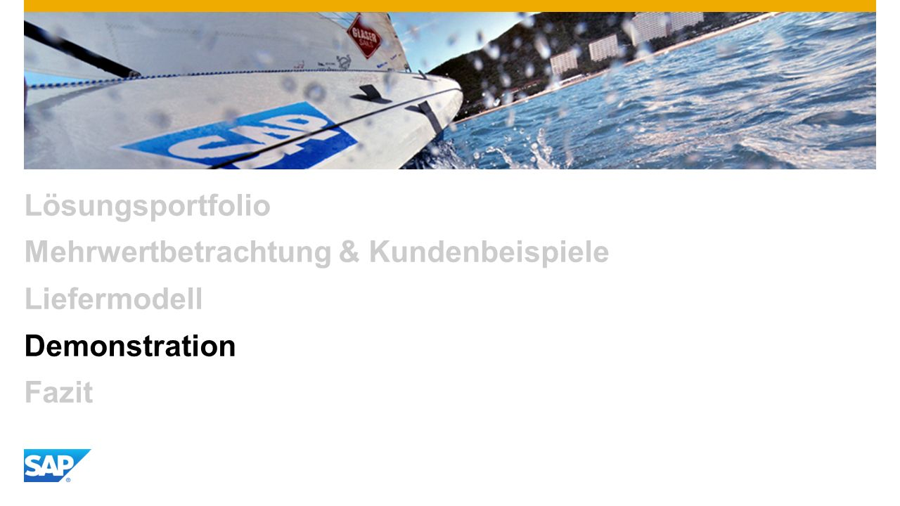 Lösungsportfolio Mehrwertbetrachtung & Kundenbeispiele Liefermodell Demonstration Fazit