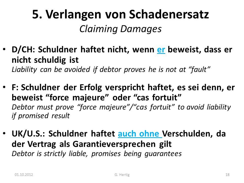 5. Verlangen von Schadenersatz Claiming Damages