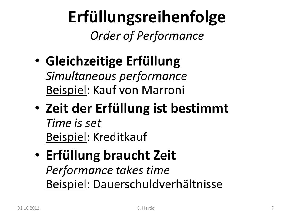 Erfüllungsreihenfolge Order of Performance