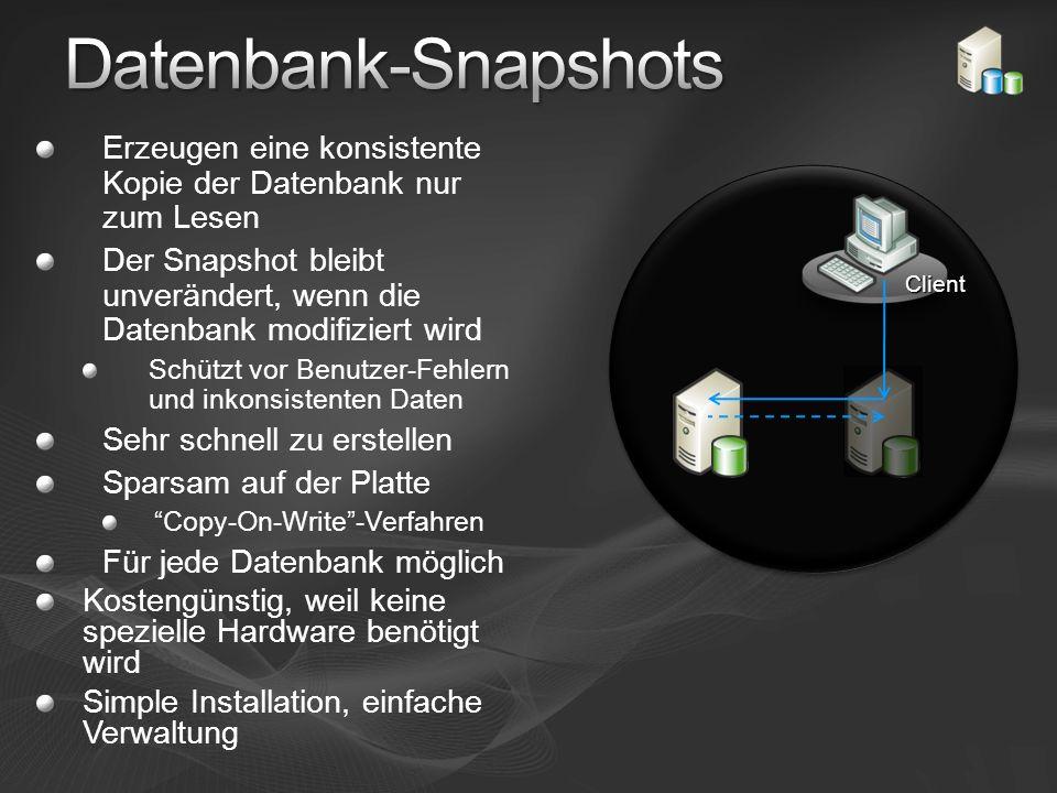 Datenbank-SnapshotsErzeugen eine konsistente Kopie der Datenbank nur zum Lesen. Der Snapshot bleibt unverändert, wenn die Datenbank modifiziert wird.