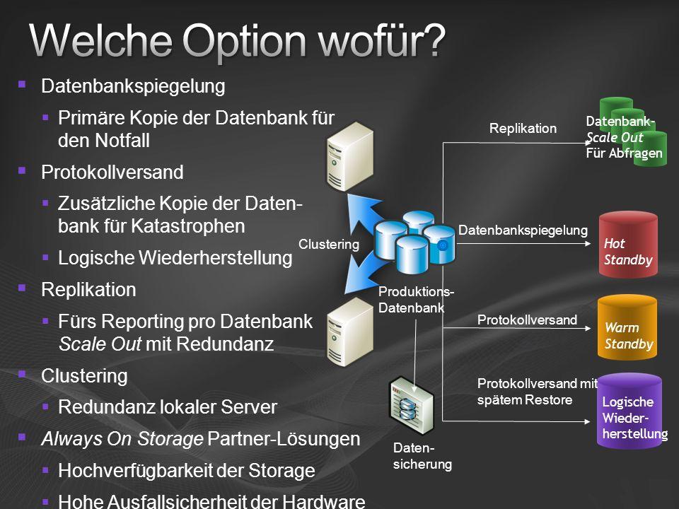 Welche Option wofür Datenbankspiegelung