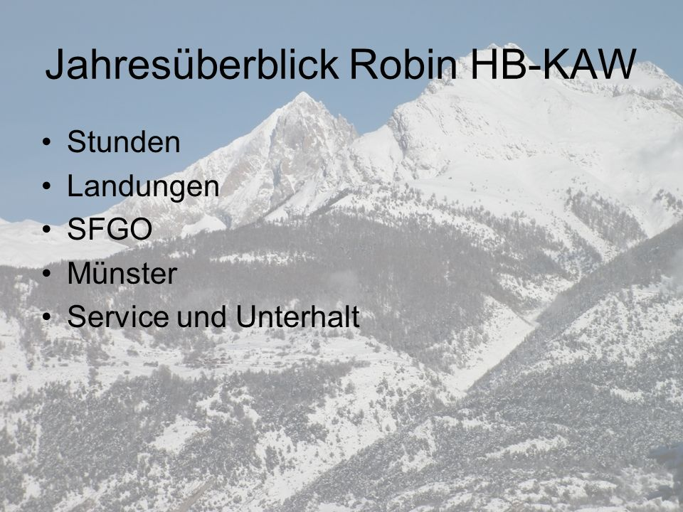 Jahresüberblick Robin HB-KAW