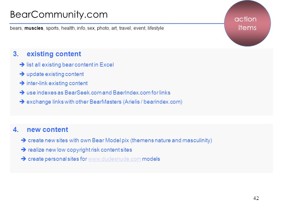 BearCommunity.com action items 3. existing content 4. new content