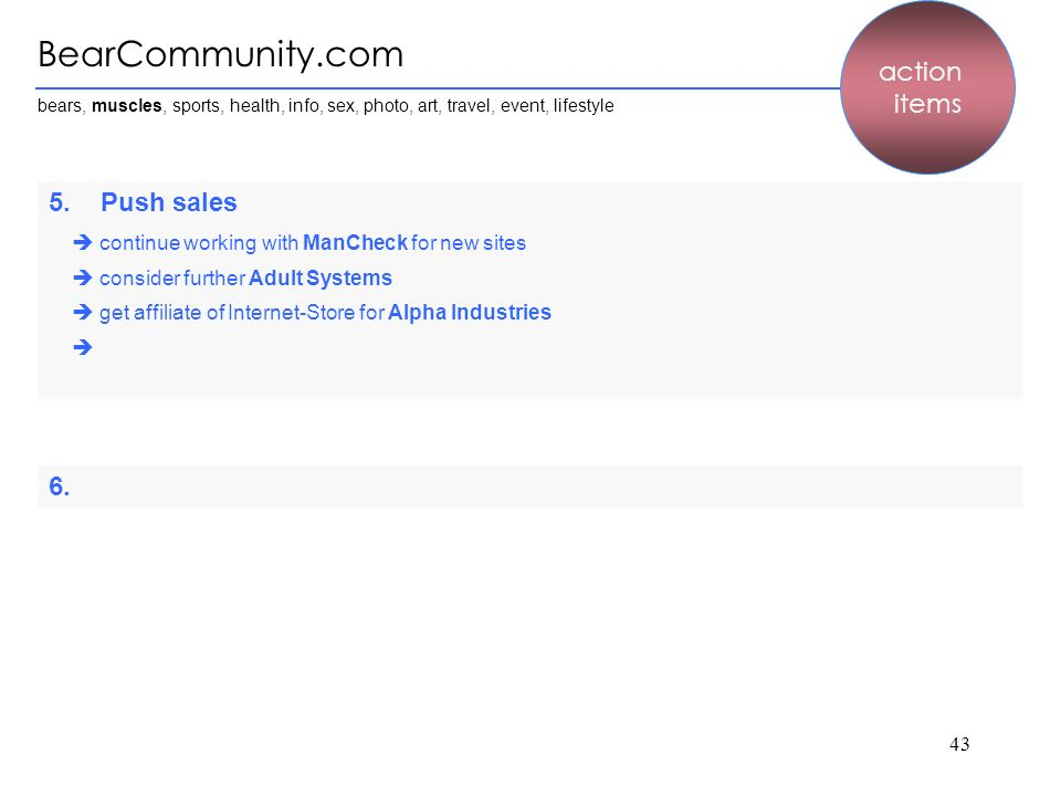 BearCommunity.com action items 5. Push sales 6.