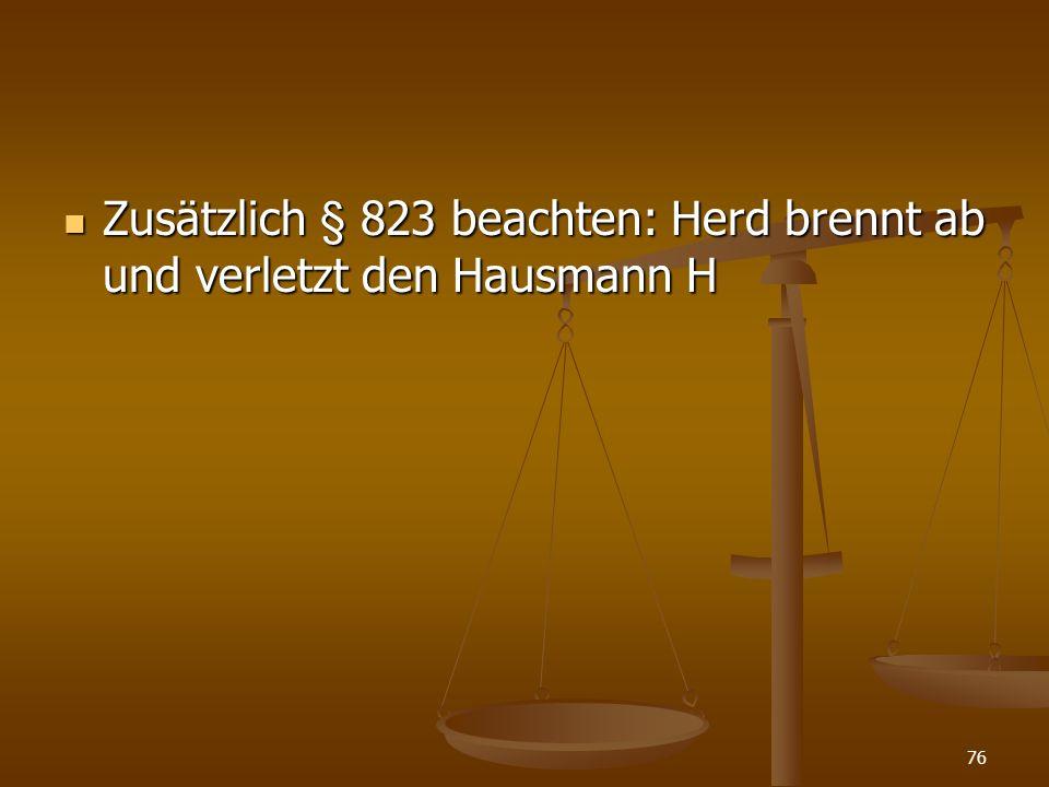 Zusätzlich § 823 beachten: Herd brennt ab und verletzt den Hausmann H