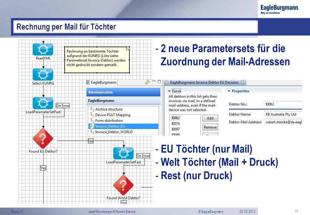 2 neue Parametersets für die Zuordnung der Mail-Adressen