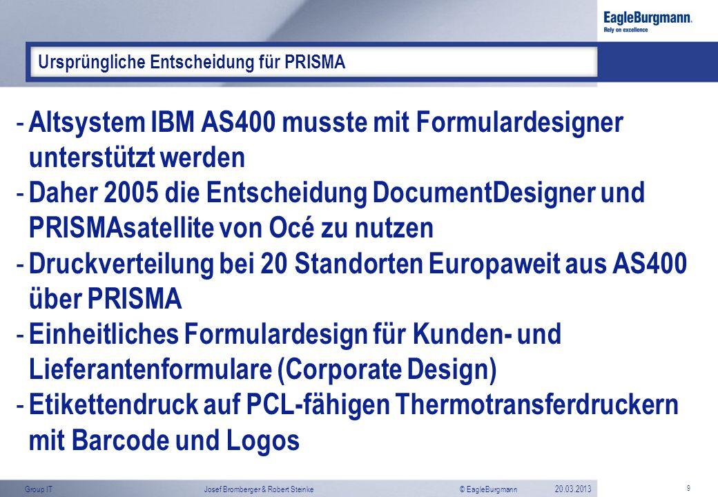 Altsystem IBM AS400 musste mit Formulardesigner unterstützt werden