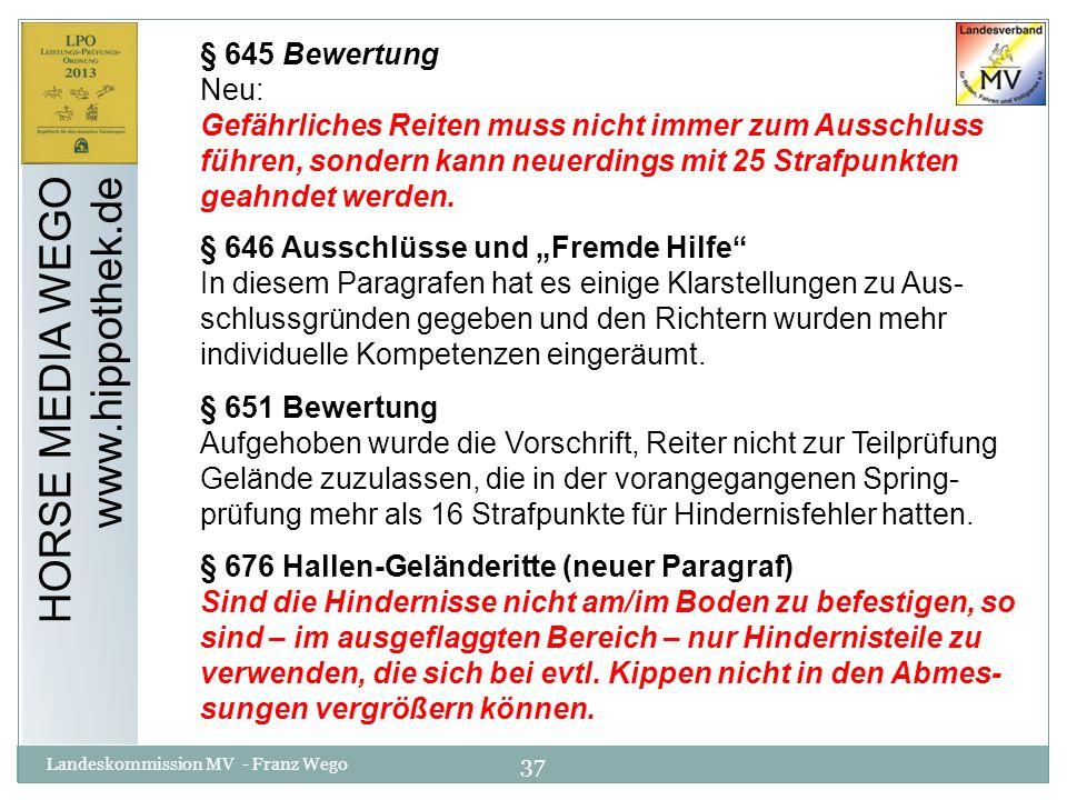 HORSE MEDIA WEGO www.hippothek.de § 645 Bewertung Neu: