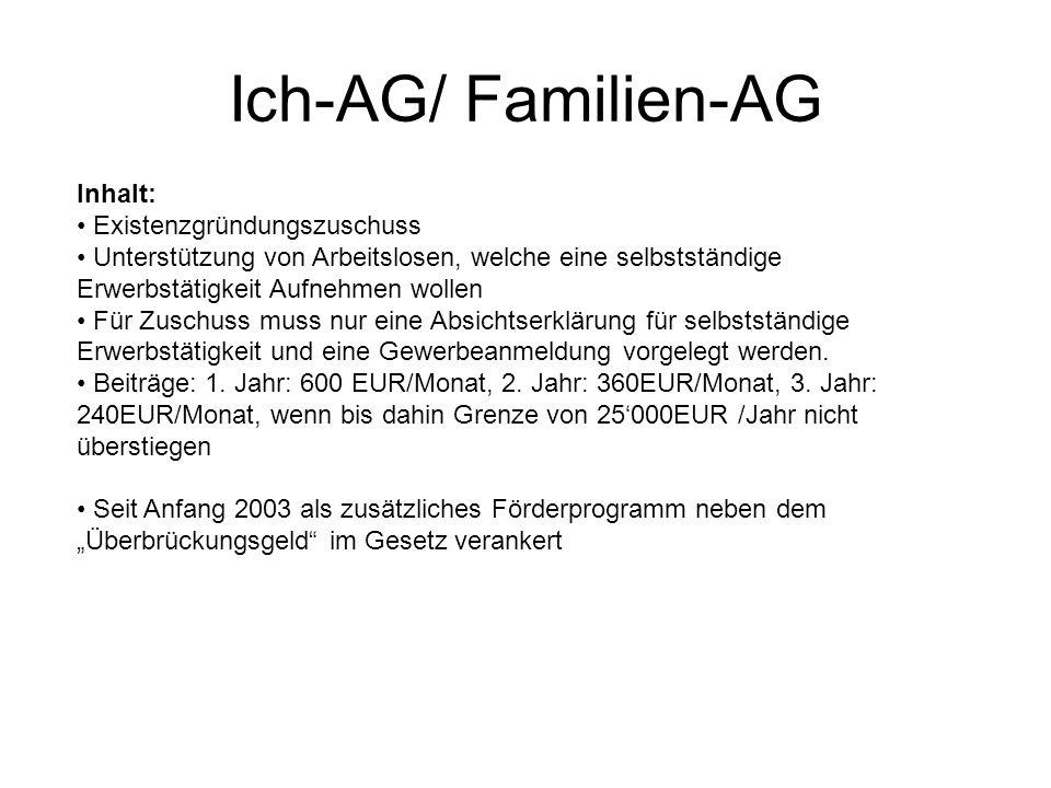 Ich-AG/ Familien-AG Inhalt: Existenzgründungszuschuss