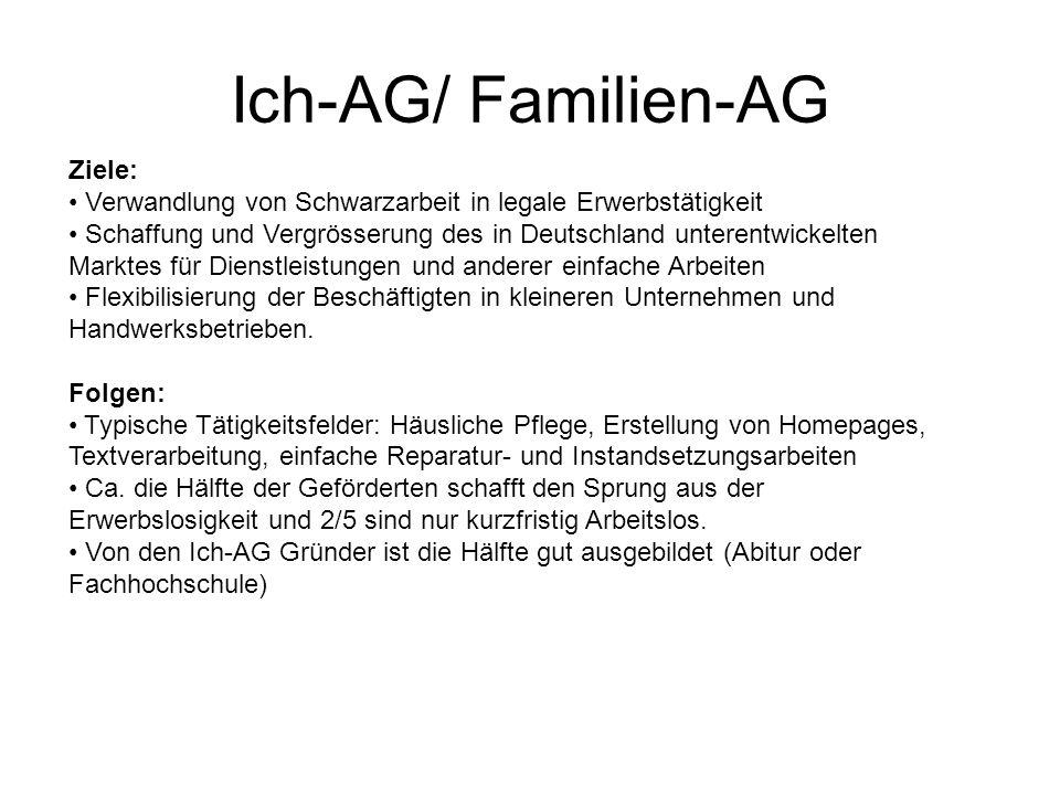 Ich-AG/ Familien-AG Ziele: