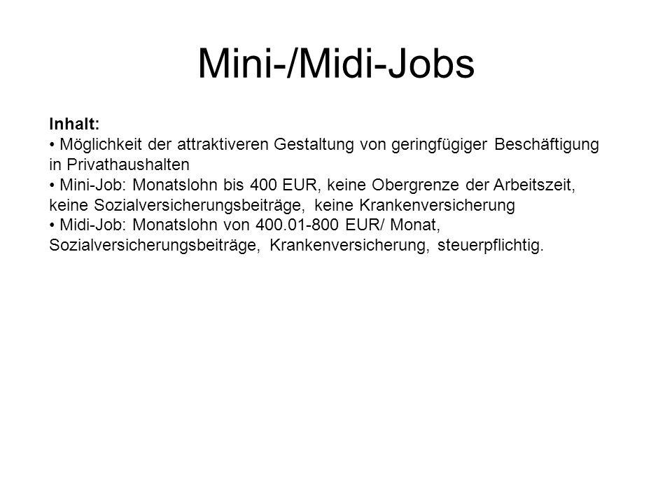Mini-/Midi-Jobs Inhalt: