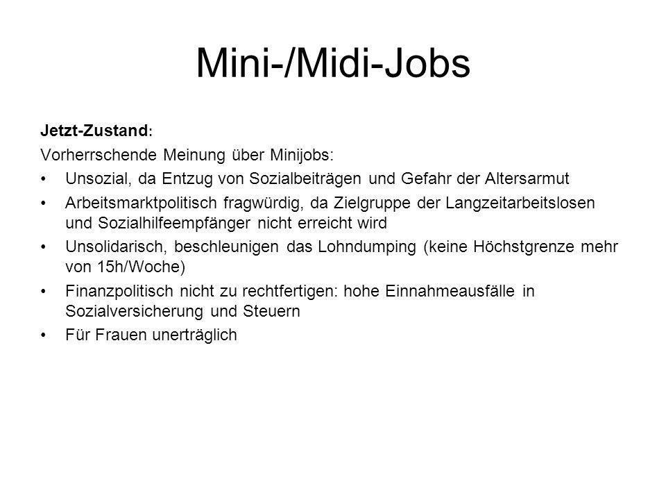 Mini-/Midi-Jobs Jetzt-Zustand: Vorherrschende Meinung über Minijobs: