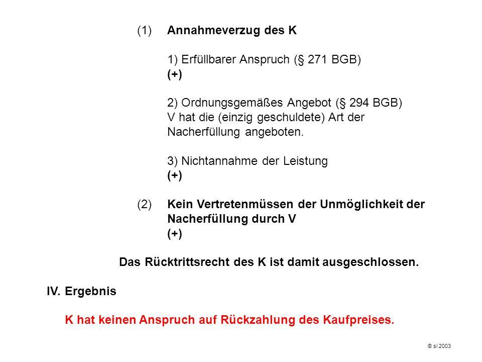 1) Erfüllbarer Anspruch (§ 271 BGB) (+)