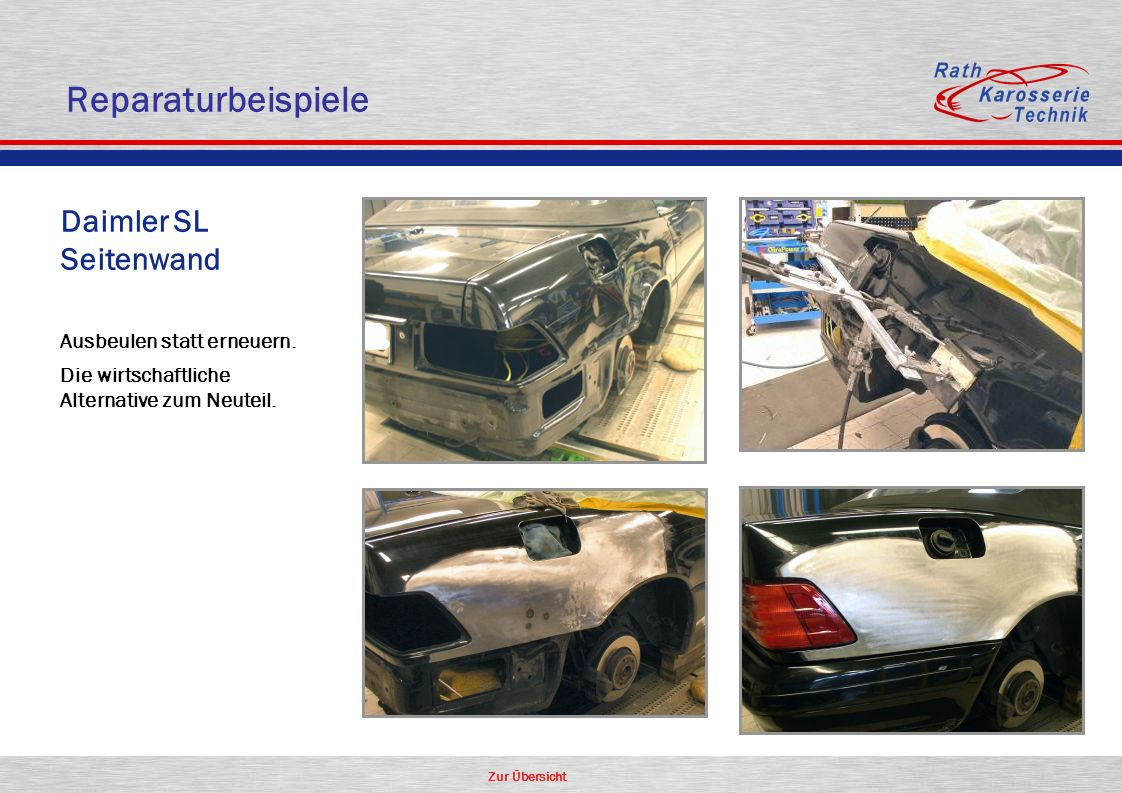 Reparaturbeispiele Daimler SL Seitenwand Aluminium Oldtimer