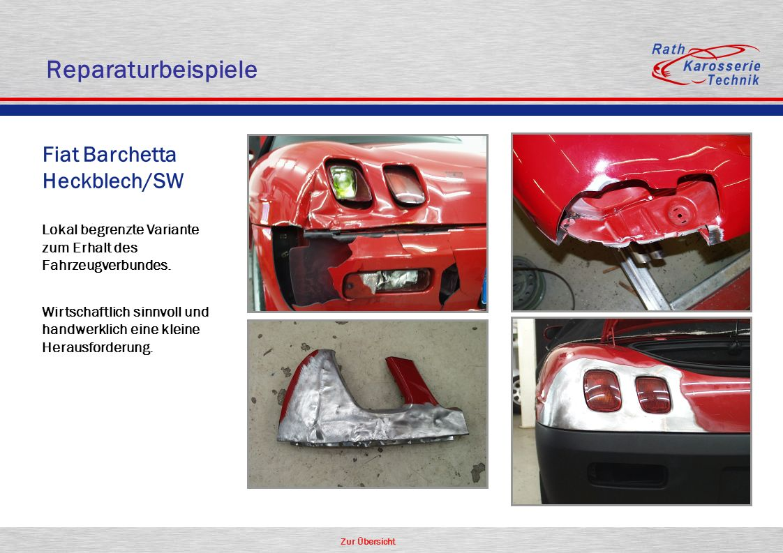 Reparaturbeispiele Fiat Barchetta Heckblech/SW Aluminium Oldtimer