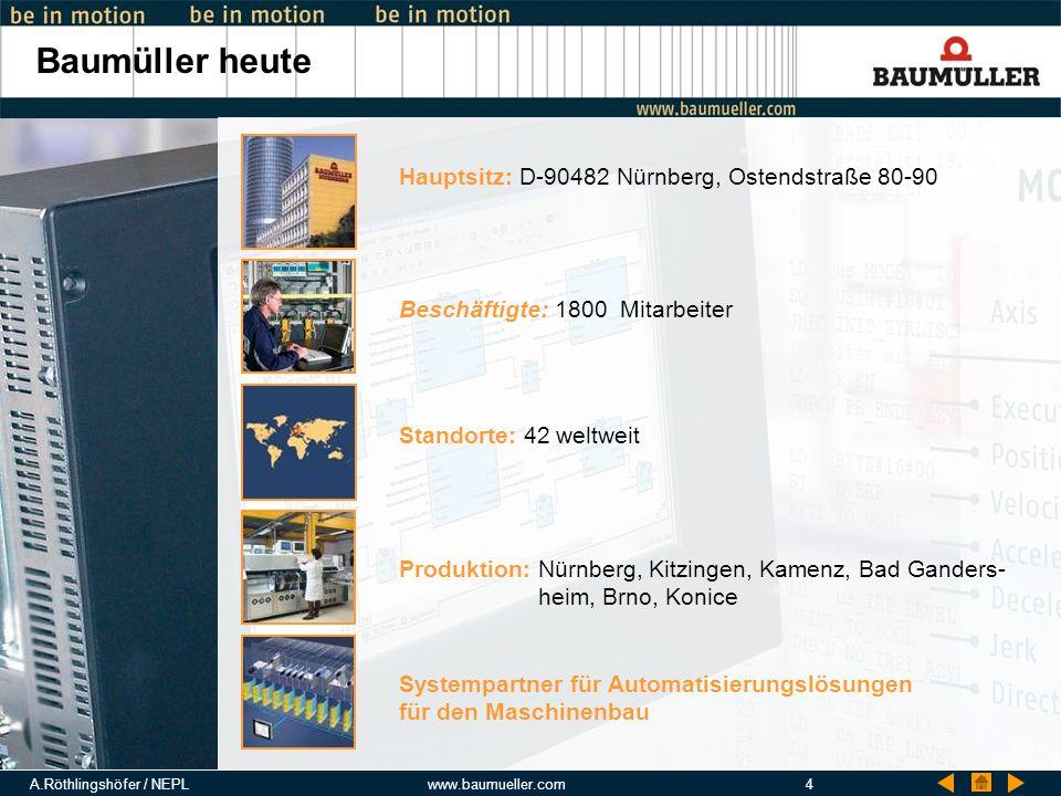Baumüller heute Hauptsitz: D-90482 Nürnberg, Ostendstraße 80-90